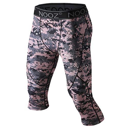 Nooz Men's Compression 3/4 Capri Pants Baselayer Legging Tights with Cool Dry Tech - Pink Camo, Medium