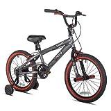 Bike Boys Kids Bicycle BMX Steel Frame 18-Inch Cycling w/Training Wheels Pedal ky-6