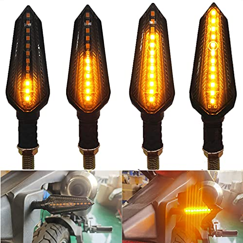 Greluma 4 PCS indicatori lampeggiatori a 12 LED per motocicletta Indicatori di direzione ambra Indicatori di direzione per motocicletta Impermeabile (nuova versione)