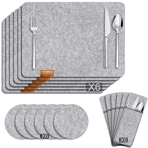 Manteles Individuales Lavables de Fieltro Juego de 6: Posavasos Redondo - Manteles Individuales Cuadrados - Bolsas para Cubiertos, para Cocina - Restaurante - Hotel - Reuniones Familiares