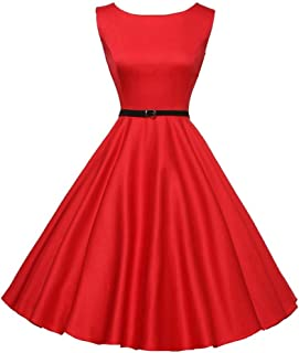 Women's Vintage Print Sleeveless Evening Party Prom Swing Dress with Belt