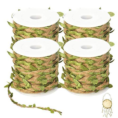 4 x 10 m di nastro di iuta naturale con foglie, ghirlanda di bosso verde, foglie di edera, ghirlanda decorativa per comunione, matrimonio, festa, giardino, decorazione da parete