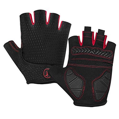 BIKINGMOREOK Cycling Gloves Bike Gloves for Men,Half Finger Gel Pad Shock-Absorbing Mountain Bike Gloves Anti-Slip MTB Road Bike Gloves Breathable Bicycle Gloves Outdoor Sports Biking Gloves Black-L