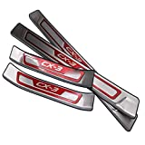4Pcs Auto Stainless Steel External Door Sills, for Mazda Cx 3 CX3 CX 3 2017-2020 Welcome Pedal Kick Plates Scuff Threshold Bar, Protective Decorate Foot Tread Stickers Strips,Red