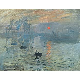 Wieco Art - Sunset by Claude Monet Famous Oil Paintings Reproduction Modern Framed Giclee Canvas Prints Seascape Artwork Sea Pictures on Canvas Wall Art for Living Room Home Decorations:Maskedking