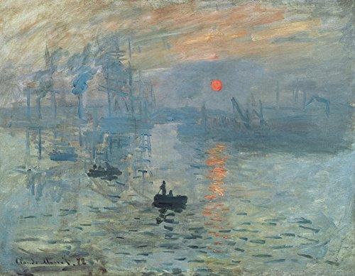 Wieco Art - Lienzo con impresion moderna y enmarcada de amanecer de Claude Monet, famosa pintura al oleo, reproduccion de arte sobre lienzo para decoracion del hogar, lona, 16x12inch (40x30cm)