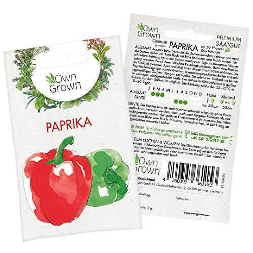 Premium Paprika Samen (Capsicum annuum), Gemüsepaprika Samen - Sorte Yolo Wonder - zum Anbau im Garten und auf dem Balkon, für ca. 50 Paprika Pflanzen - Paprika Saatgut von OwnGrown