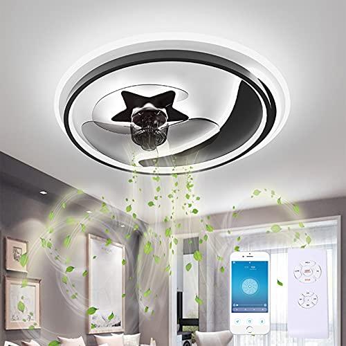 GJXJY 19.7' Flush Mount Ceiling Fan with Lights, LED Remote Control 3-Color Lighting 3 Wind Speeds, Invisible Blades Flush Mount Ceiling Light, Metal Shell Low Profile Fan