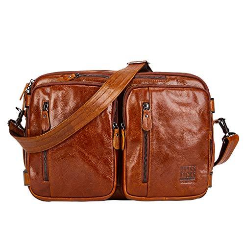 BRASS TACKS Leathercraft Men's Handmade Cowhide Vintage 3-in-1 Briefcase Backpack 14 inch Laptop Water Resistant Brown Genuine Leather Handbag