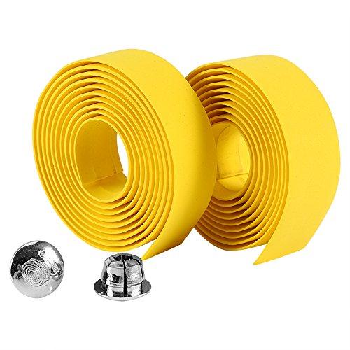 Alomejor 2 cintas para manillar de bicicleta de carretera con tapones de barra (amarillo)