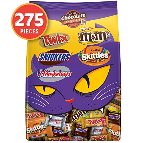 M&M'S Peanut, SNICKERS, TWIX, 3 MUSKETEERS & SKITTLES Cauldron Halloween Candy Variety Mix, 96.12-Ounce Bag. 275 Pieces