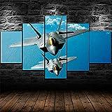 CCRTAR Cuadro en Lienzo 5 Piezas De Impresión HD Grandes Póster F-22 Raptor Fighter 100x55cm Cuadro en Lienzo 5 Piezas Listo para Colgar Lienzos Moderno Arte Sala Decoración Regalo