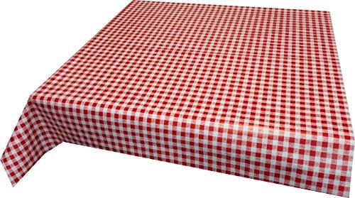 Ilkadim Wachstuch Tischdecke 110cm X 140cm Motiv auswählbar, abwaschbar (rot weiß kariert)