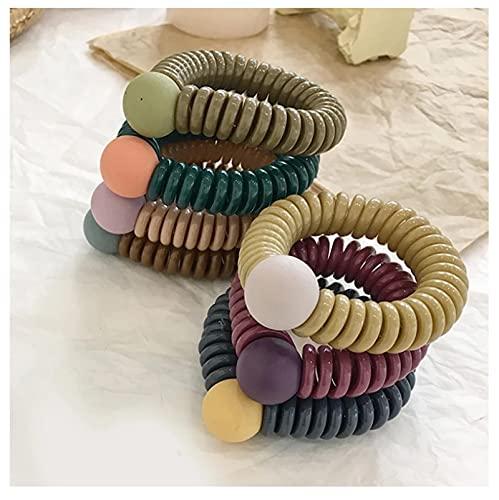 7 unids dulce bola de teléfono alambre cola de caballo anillo de goma bandas de pelo elástico mujeres bandas de pelo diadema para niñas accesorios para el cabello