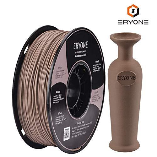 ERYONE PLA Holz Filament 1,75 mm für 3D Drucker oder Stift 1KG in Vakuumverpackung, Wood, Licht