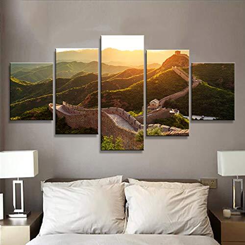 WJDJT 5 Panel De Pared Arte Pintura Paisaje De Amanecer De La Gran Muralla Impresiones sobre Lienzo La Imagen Fotos Aceite para Decoración De Hogar Moderno Decoración De La Impresión 150X80Cm