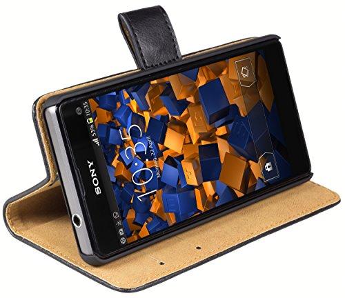 mumbi Echt Leder Bookstyle Case kompatibel mit Sony Xperia Z1 Compact Hülle Leder Tasche Case Wallet, schwarz