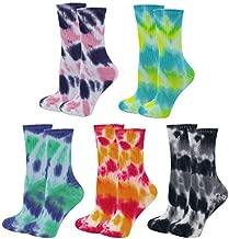 5 Pack Lady's Women's Colorful Tie-dye Cotton Socks Soft Crew Socks