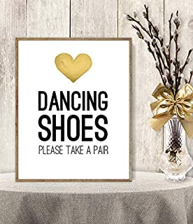 Les Connie Dancing Shoes Sign Take A Pair Flip Flop Basket Wedding Sign Framed Yellow Heart Watercolor Heart Poster 11x14
