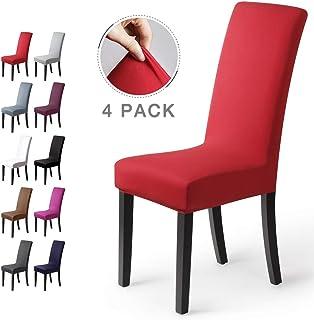 Fundas para sillas Pack de 4 Fundas sillas Comedor Fundas elásticas, Cubiertas para sillas,bielástico Extraíble Funda, Muy fácil de Limpiar, Duradera (Paquete de 4, Rojo)