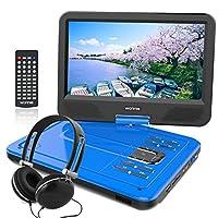 ポータブルDVDプレーヤー 10.5型 高画質液晶 DVDプレイヤー リージョンフリー 大容量 5時間持続 超軽量で持ち運びやすい 動作音も静か 3年保証付き (ブルー)