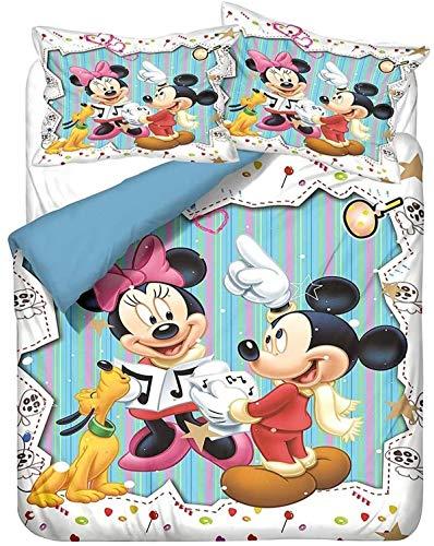 QWAS Mickey Minnie Mickey Mouse - Juego de ropa de cama de Disney con dibujos animados 3D, microfibra suave, 1 funda nórdica y 2 fundas de almohada (L4,220 x 240 cm + 50 x 75 cm x 2)