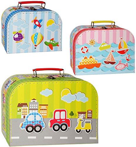 alles-meine.de GmbH 1 Stück _ Kinderkoffer / Koffer - MITTEL -  Fahrzeuge - Flugzeug / Schiff / Auto  - ideal als Geldgeschenk und für Spielzeug - Mädchen & Jungen - Kinder & E..