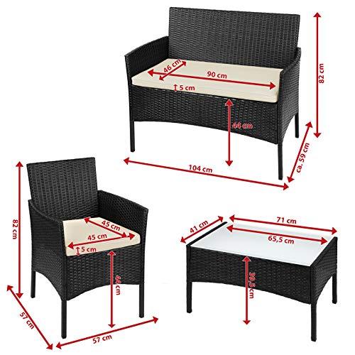 BB Sport 7-teilige Polyrattan Sitzgruppe für 4 Personen inkl. Sitzpolster und Tisch Balkonmöbel Set Sitzgarnitur, Farbe:Titan-Schwarz/Sandstrand - 6