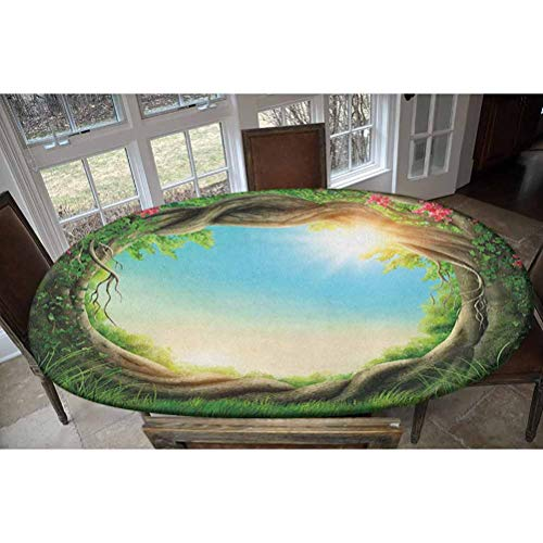 Elastic Polyester Fitted Table Cover,Enchanted Forest in Spring Fresh Growth Foliage with Blossoms Fairytale Fantasy Decorative Oblong/Oval Elastic Fitted Tablecloth,Fits Tables up to 48' W x 68' L