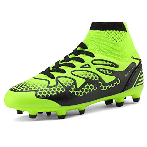 DREAM PAIRS Little Kid 160858-K Lemon Green Black Fashion Soccer Football Cleats Shoes Size 13 M US Little Kid