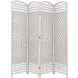 Oriental Furniture 5 1/2 ft. Tall Fiber Weave Room Divider - White - 4 Panel