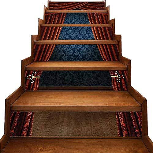 JiuYIBB - Adesivi da parete per scale vittoriane, motivo floreale vintage W 39' x H 7' x 6pcs Colore 06