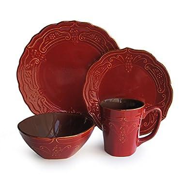 American Atelier 16 Piece Napa Dinnerware Set, Red