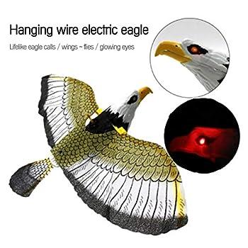 CYC Répulsif à Oiseaux Lumineux Aigle Suspendu avec Musique Flying Bird Scarer Garden Decoration Portable Flying Bird Garden Decoration