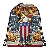 Jhonangel American Eagle con USA Flags Mochila con cordón Unisex Bolsa Sport Gym Travel Sackpack 36 x 43 cm / 14.2 x 16.9 Pulgadas