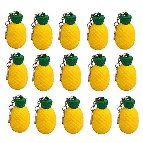 iMagitek 15 Pack Pineapple Keychains for Kids Party Favors Supplies, School Carnival Prizes, Party Bag Gift Fillers, Pineapple Stress Relieve Toy