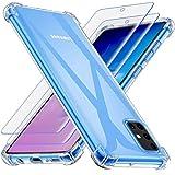 Losvick für Samsung Galaxy A71 Hülle mit 2X Panzerglas Schutzfolie, Transparent Anti-Gelb Ultra Dünn Silikon Weiche TPU Handyhül Schock-Absorption Kratzfest Schutzhülle Hülle für Galaxy A71 - Klar