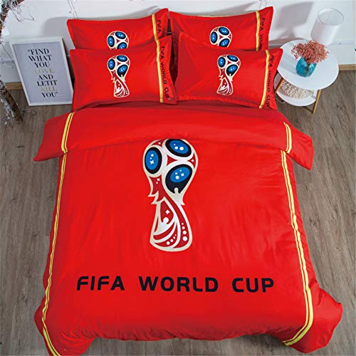 FONKING Quilt Covered Pillowcase Double Bedding 3 Piece Suit Football Field,1,UK-Double