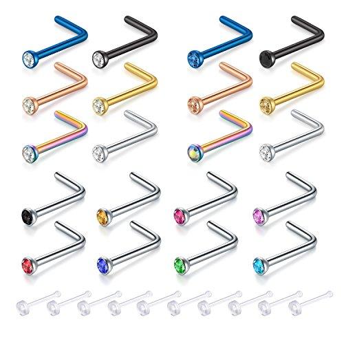 Zolure 20G 9mm Nasenringe, L Nose Stud Ring 316 Edelstahl 9mm Cz Steine Nasenring Sternum Rook Piercing