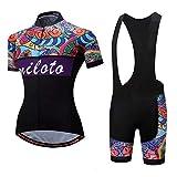Maillot de Ciclismo para Mujer, Conjunto de Manga Corta, Camiseta de Bicicleta de Secado Rápido, Chaqueta Camiseta + Pantalones Cortos Acolchados - Trajes de Montar MTB ( Color : A , Talla : Pequeño )