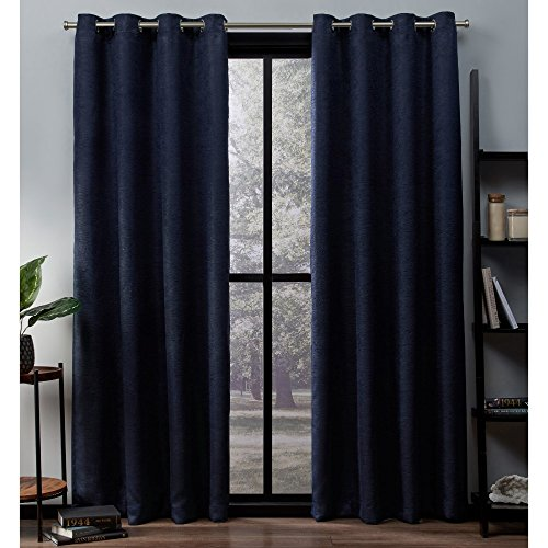 Exclusive Home Curtains Oxford Textured Sateen Thermal Window Curtain Panel Pair with Grommet Top, 52x84, Navy, 2 Piece