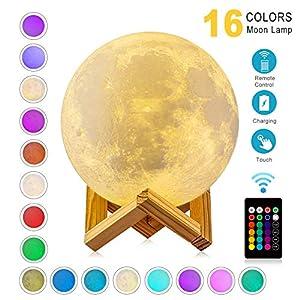 WYCY 3D lampara luna 10CM 16 colores Interruptor táctil y control remoto luna lampara de buro lampara de lava Con interfaz de carga USB lámpara luna (Luz de luna 16 colores, 10CM)