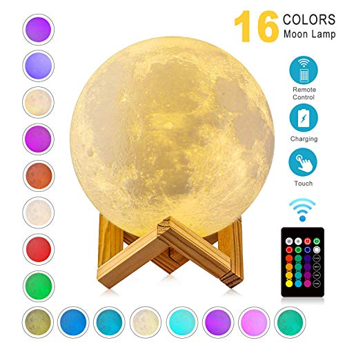 WYCY Lámpara de Luna 8CM 16 Colores 3D Control Remoto de Luz de Luna y Control Táctil con Carga USB, Los Mejores Regalos para Amigo Amante Cumpleaños (Lampara de Luna 16 Colores, 8CM)