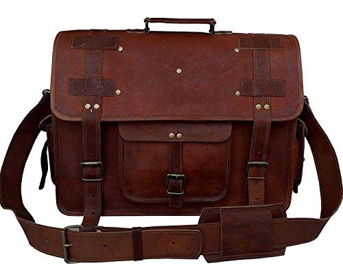 Bolso bandolera de piel bolsas de cuero para mujeres, Vintage negocios maletín