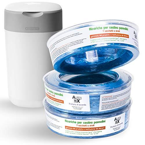 Ricarica Mangiapannolini Bimbi Antiodore alla Lavanda 320 Sacchetti Compatibile con Sangenic Tommee Tippee Sistema di Smaltimento Pannolini 3 unità
