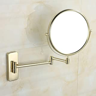 KTYXGKL Bathroom Vanity Mirror Copper Folding Telescopic Mirror Bathroom Wall Hanging Double Sided Magnifying Glass Makeup Mirror (Size : L 8 inches)