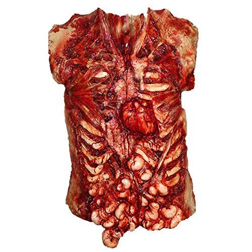 HENGYUTOYMASK Gory Bloody Torso Chest Piece Halloween Fancy Dress Zombie Guts Heart Vest Apron Masquerade Scary Decoration