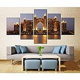 Póster artístico Impreso en Lienzo para Sala de Estar 5 unids/Set Edificio de Hotel de Dubai Modular HD Cuadro de Pared decoración del hogar
