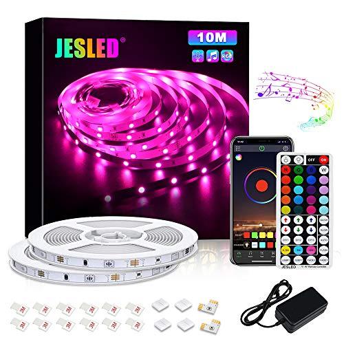 Tiras LED, JESLED 10M Tiras de Luces LED Sincronización de música Bluetooth, control de aplicaciones, Remoto de 44 Botones, 5050 RGB LED Strip, para Habitacion, Hogar, Bar, Fiesta, Restaurante
