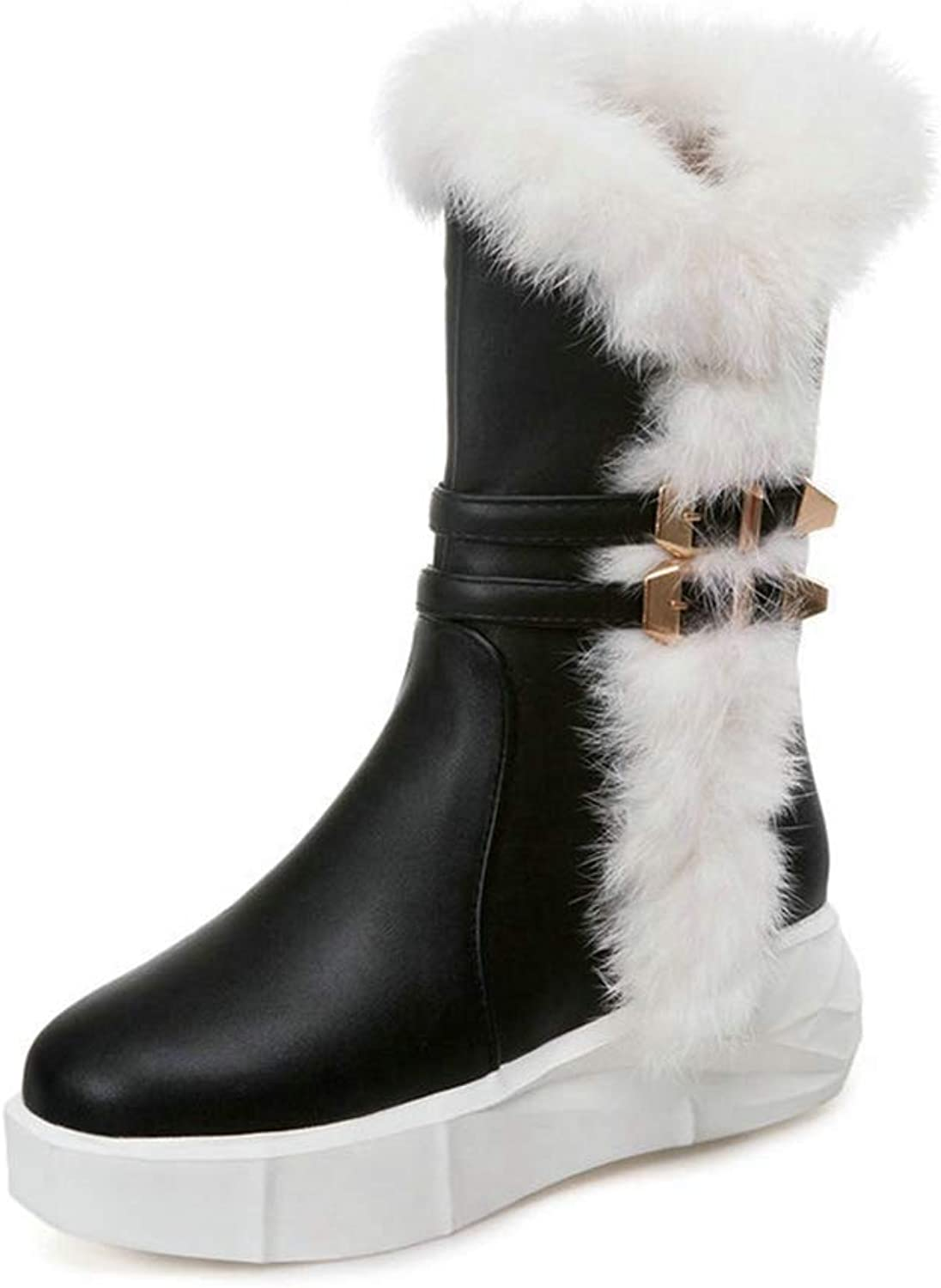 T-JULY Women's Winter Warm Plush Mid Calf Snow Boots Platform Side Zipper Comfortable Flat shoes White Black Pink